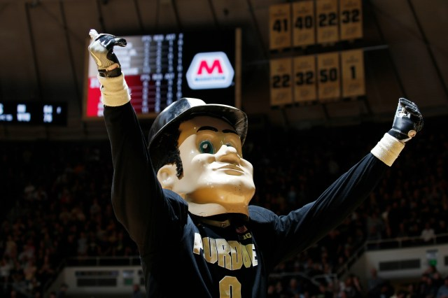 March 7: Purdue Boilermakers mascot Purdue Pete does a cheer during a timeout against the Rutgers Scarlet Knights at Mackey Arena.