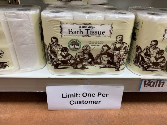 Trader Joe's limits the number of rolls of toilet paper to one per customer until further notice. This is in response to a mass supply with the announcement of COVID-19 in Delaware.