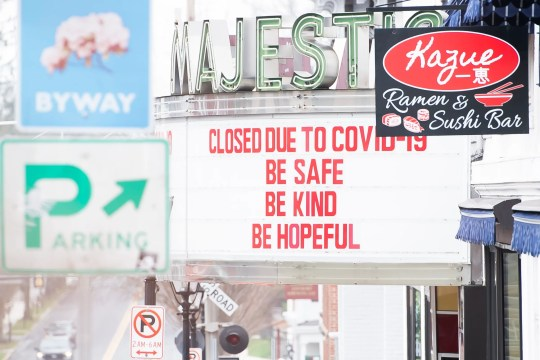 Gettysburg College's Majestic Theater is closed because of coronavirus restrictions. Here, the marquee is shown in a March file photo.