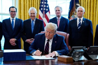 WATCH – 'Checks Are Coming': President Trump Signs  Trillion Coronavirus Relief Package