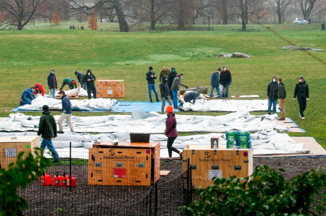 Workers set up a camp in front of Mount Sinai West Hospital inside Central Park on March 29, 2020 in New York City.