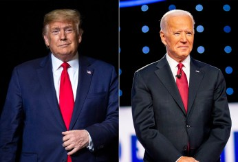 From left, US President Donald J. Trump and former Vice President Joe Biden.