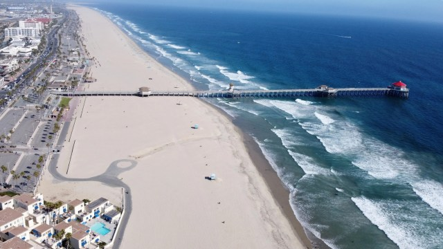 General overall aerial view of the closed Huntington State Beach amid the global coronavirus COVID-19 pandemic on May 2, 2020.