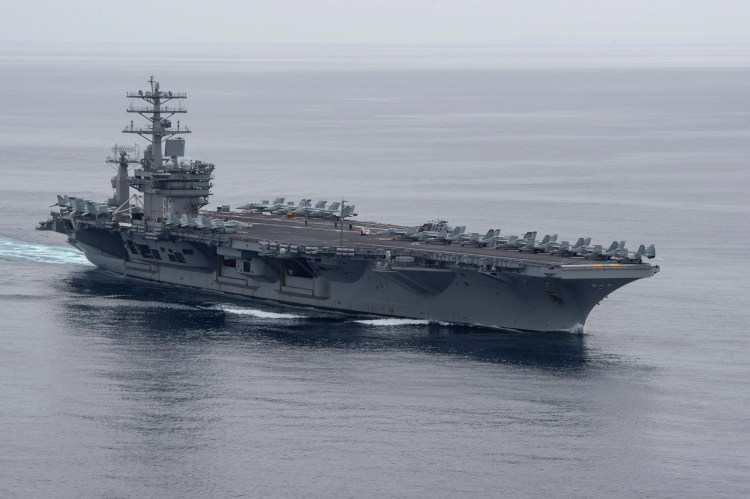 The aircraft carrier USS Nimitz steams on the Pacific Ocean during a composite unit training exercise that is preparing its battle group for deployment.