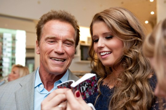 Actor Arnold Schwarzenegger and daughter Katherine attend Trust Your Senses on September 8, 2011 in Los Angeles, California.