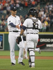 Detroit Tigers thrower Armando Galarraga welcomes the capture of Alex Avila, after the almost perfect Galarraga match against the Cleveland Indians, Wednesday, June 2, 2010 at Comerica Park.
