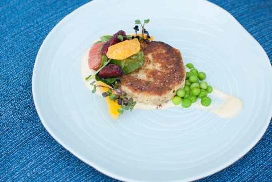 The Dungeness crab cake appetizer at Hearth '61 at Mountain Shadows.
