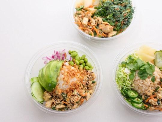 A selection of bowls from Koibito Poke.