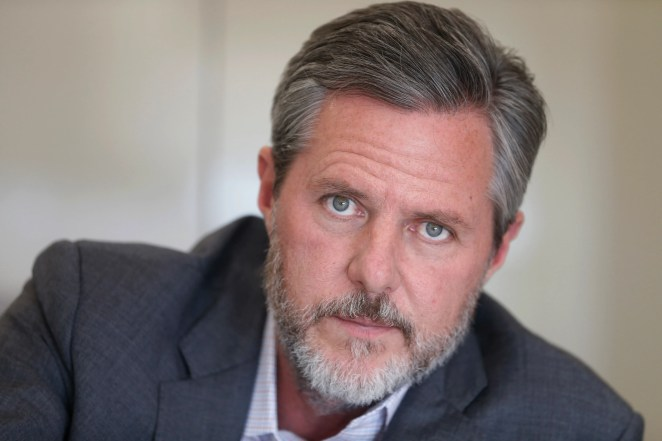 In this Nov. 16, 2016 file photo, Liberty University president Jerry Falwell Jr., poses during an interview in his offices at the school in Lynchburg, Va.