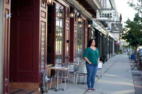 Amy Russo Harrigan, owner of Toast, prepares to open for outside dining in Asbury Park, NJ Monday, June 15, 2020.