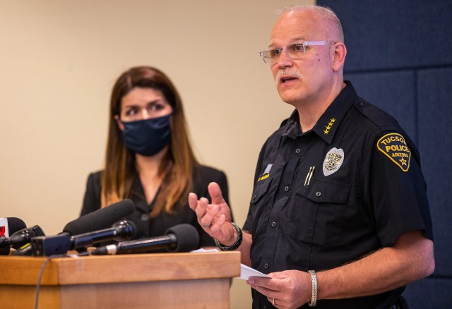 Tucson Police Chief Chris Magnus, right, and Mayor Regina Romero during a press conference on June 24, 2020 about the in-custody death of Carlos Ingram-Lopez of Tucson in April. (Photo by Josh Galemore / Arizona Daily Star)