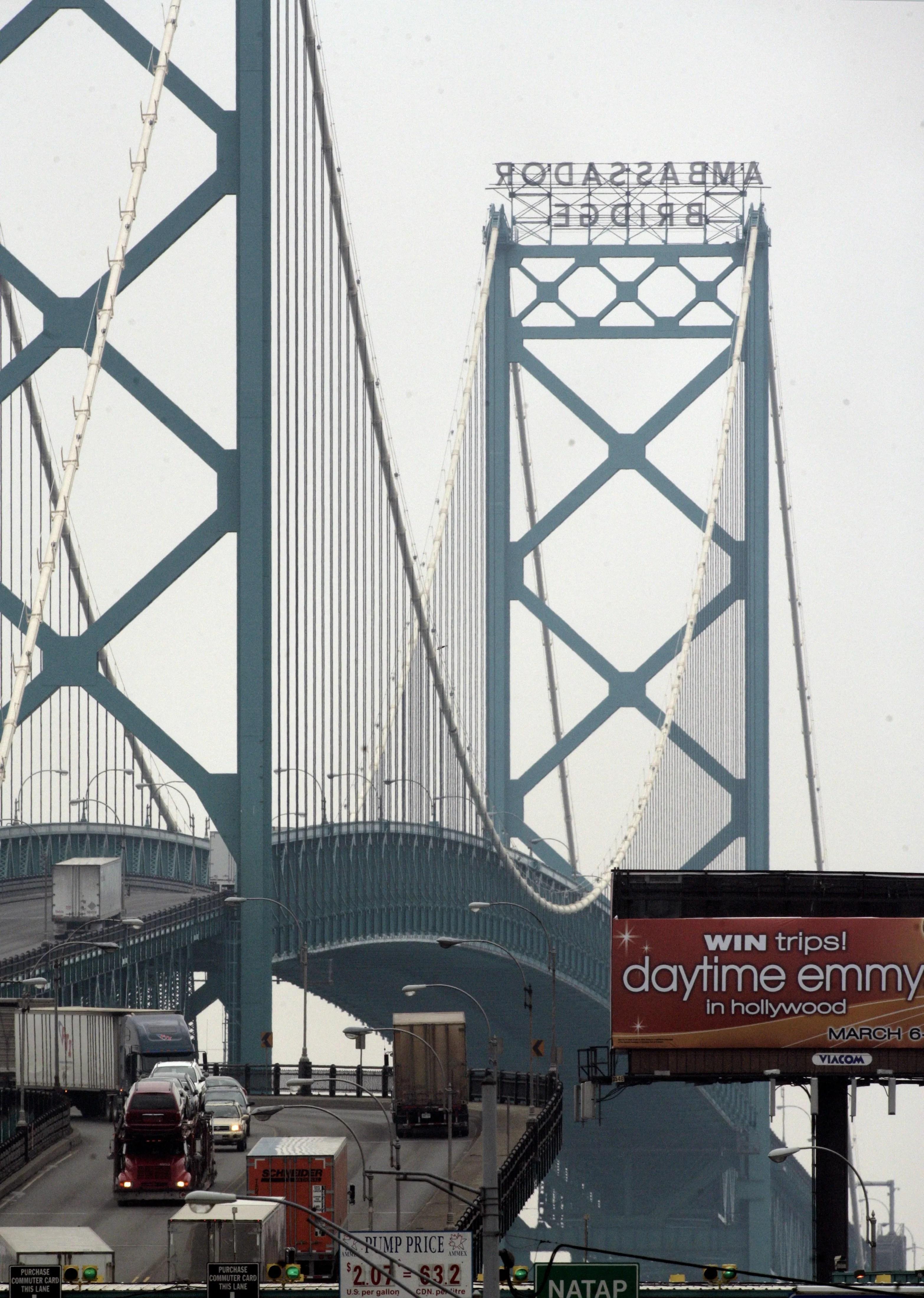 Traffic passes over the Ambassador Bridge.
