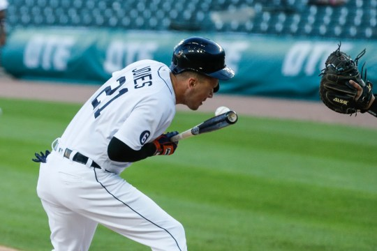 Tigers Center Fielder JaCoby Jones will be hit by Royals pitcher Kyle Zimmer (not in the photo) during the third inning at Comerica Park on Tuesday, July 28, 2020.
