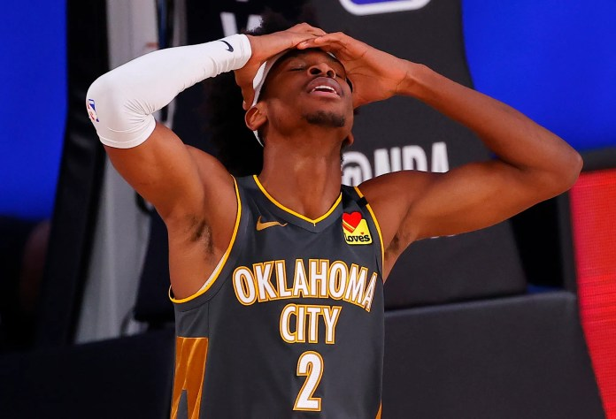 Aug. 12: Thunder guard Shai Gilgeous-Alexander can't believe he missed that shot against the Heat.