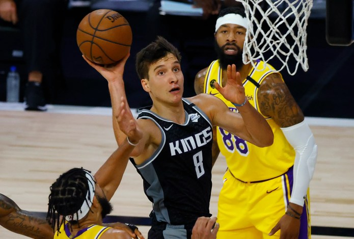 Aug. 13: The Sacramento Kings' Bogdan Bogdanovic goes up for a shot against the Los Angeles Lakers. The Kings won the game, 136-122.