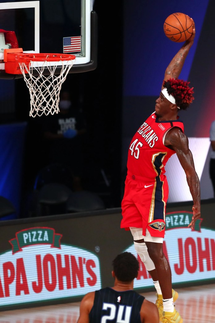 Aug. 13: The New Orleans Pelicans' Zylan Cheatham dunks against the Orlando Magic. The Magic won the game, 133-127.