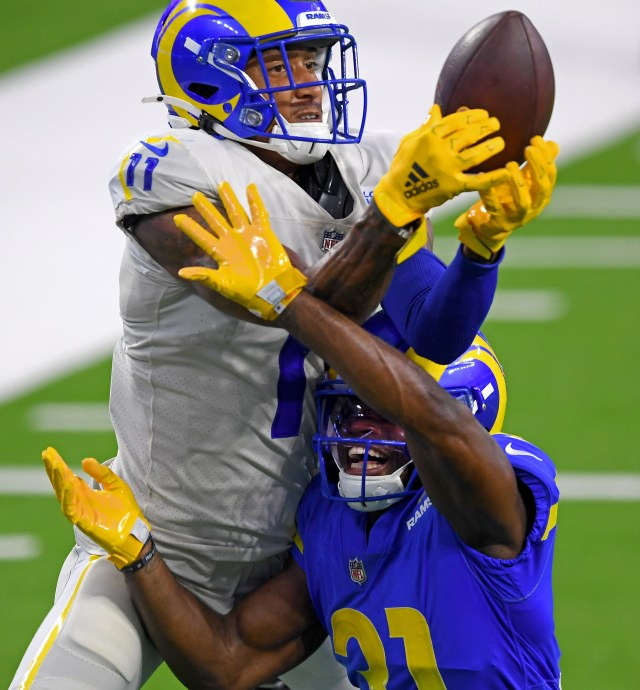 Los Angeles Rams cornerback Darious Williams defends a pass intended for wide receiver Josh Reynolds (11) in the end zone in a scrimmage game at SoFi Stadium in Inglewood, California.