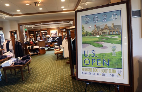 U.S. Open merchandise for sale in the pro shop at Winged Foot Golf Club Sept. 1, 2020. Winged Foot will host the U.S. Open Sept. 17-20.
