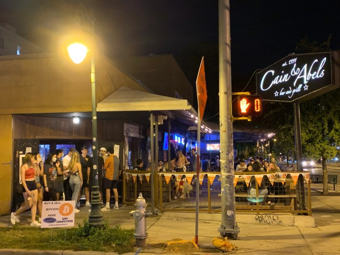 Friday night, Cain & Abel's had a line out the door near the University of Texas - Austin campus.