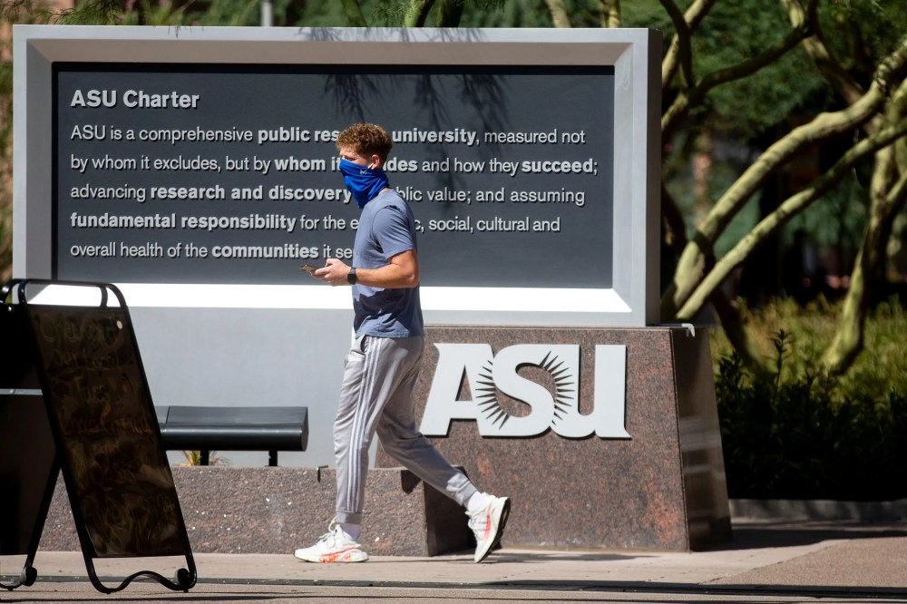 Arizona State University students walk through Taylor mall at the school's downtown Phoenix campus.