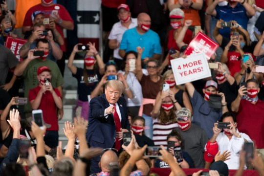 President Donald Trump addresses a crowd during a campaign rally at Smith Reynolds Airport on September 8, 2020 in Winston Salem, North Carolina.