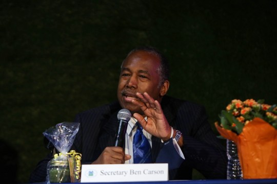 U.S. Secretary of Housing and Urban Development Ben Carson speaks about the effectiveness of opportunity zones during a tour of the Second Chances Farm in Wilmington on Monday, Sept. 14, 2020.