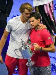 Dominic Thiem (right), celebrates his win over childhood friend Alexander Zverev at Arthur Ashe Stadium.