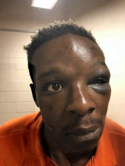 This Saturday, Sept. 12, 2020, handout photo shows Roderick Walker at the Clayton County Jail in Jonesboro, Ga. A sheriff's office in Georgia said it fired the deputy seen on video repeatedly punching Walker during a traffic stop.