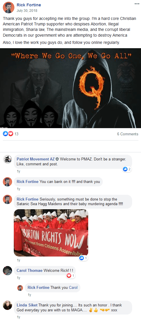 As the Patriot Movement AZ Facebook group grew, people posted memes, articles and comments.
