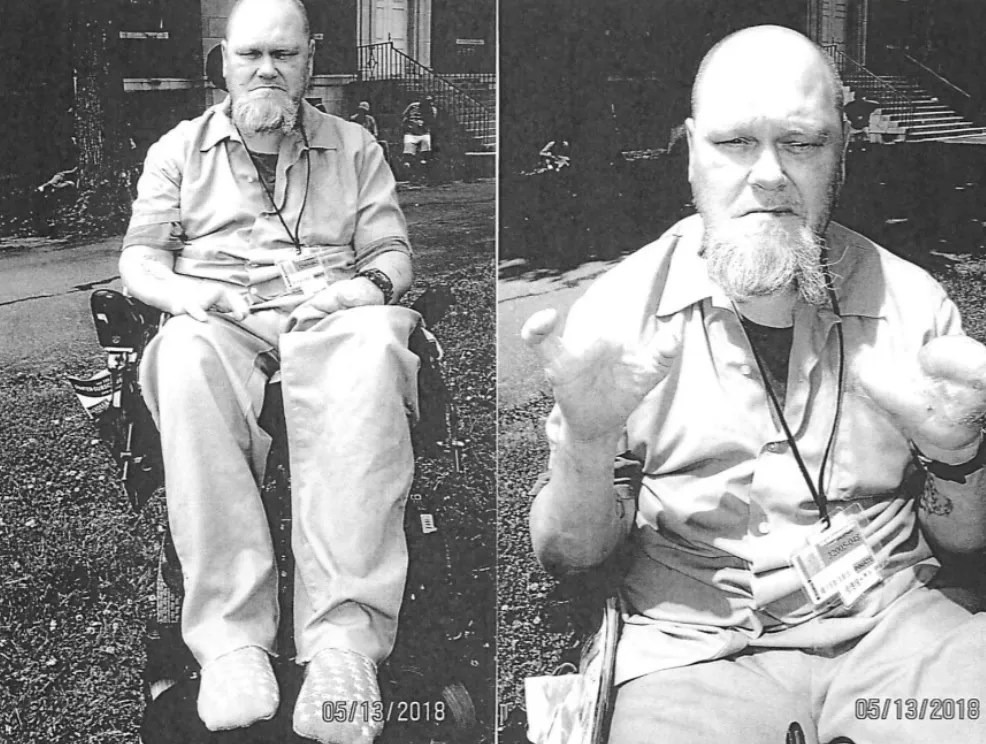 Health problems have ravaged the body of convicted killer Ward Wesley Wright. These photos were taken before his legs and all but a pinky were amputated by prison officials.