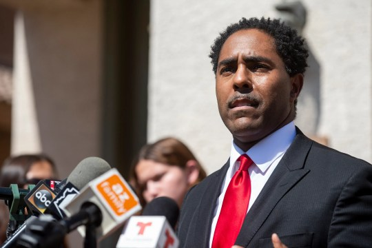 Attorney Benjamin Taylor speaks during a press conference regarding Angel Benitez, who was shot and killed by Mesa police, on Sept. 28, 2020, in Phoenix.