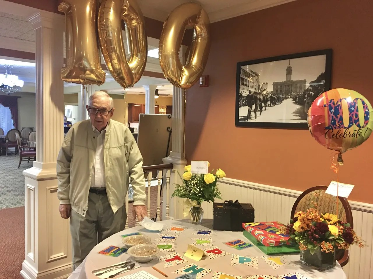 Dr. Harold S. Pryor, the first president of Columbia State Community College celebrates his 100th birthday at The Bridge of Columbia on Oct. 3, 2020.