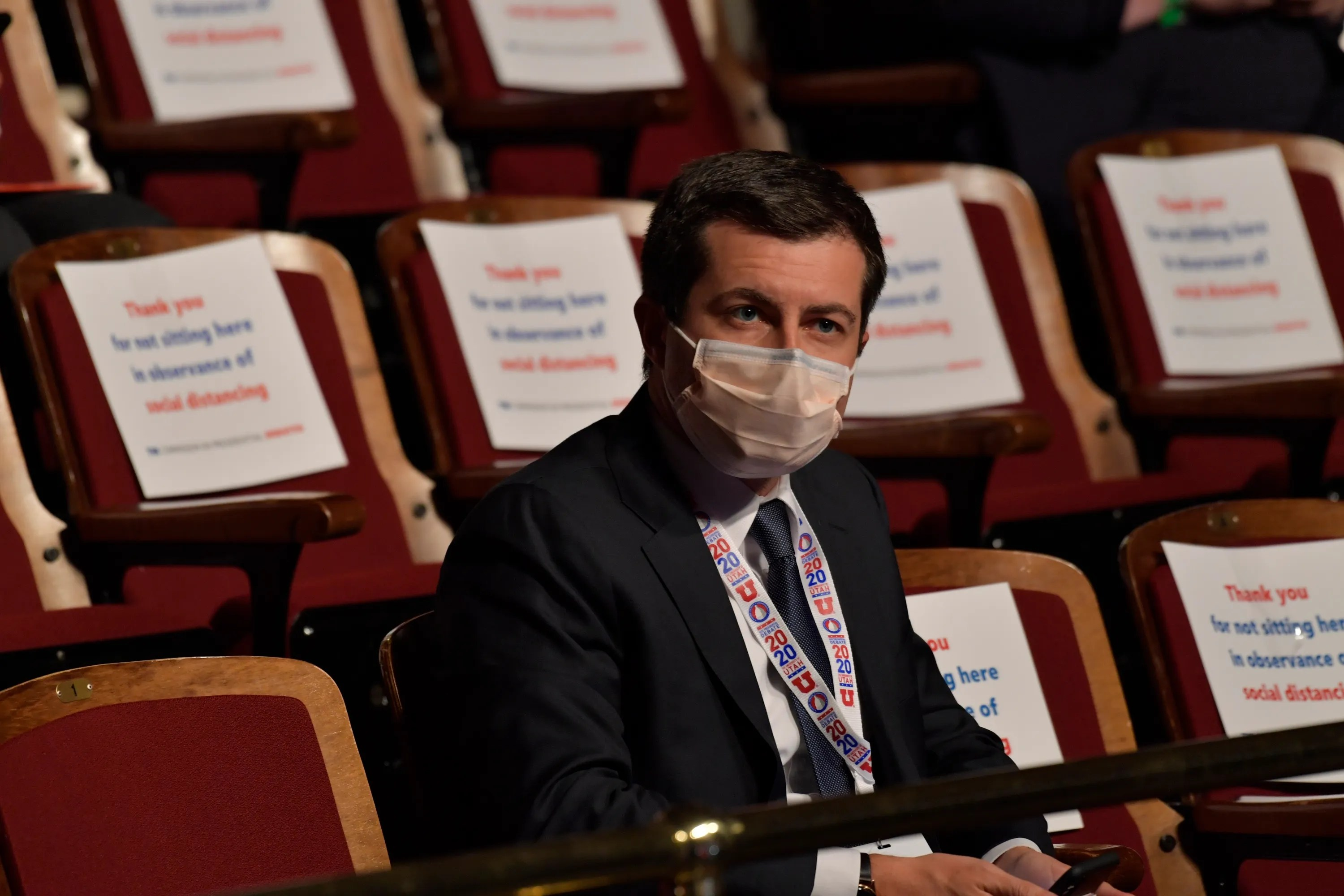Pete Buttigieg waits for the start of the Vice Presidential debate.