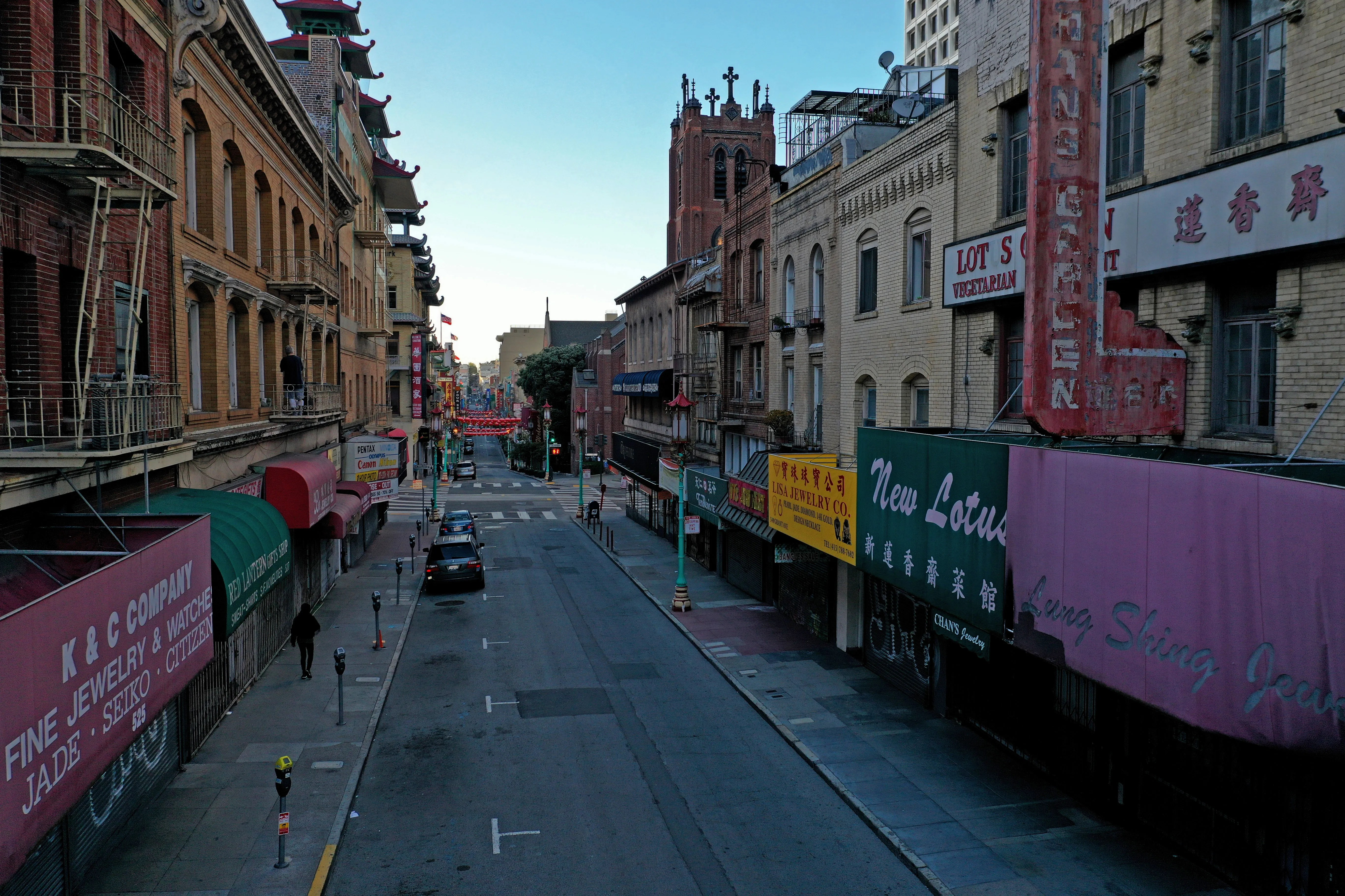 A deserted Grant Street in Chinatown on April 1, 2020 in San Francisco.