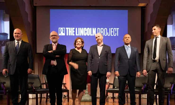 The Lincoln Project began in late 2019 with eight co-founders. By late February 2020, six remained with the group: Steve Schmidt, Rick Wilson, Jennifer Horn, Reed Galen, Mike Madrid and Ron Steslow. As of last week, there were three.