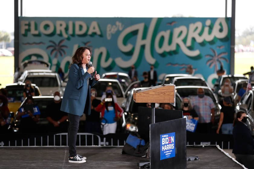 Democratic U.S. Vice Presidential nominee Sen. Kamala Harris (D-CA) speaks during an early voting mobilization event at the Central Florida Fairgrounds on October 19, 2020 in Orlando.
