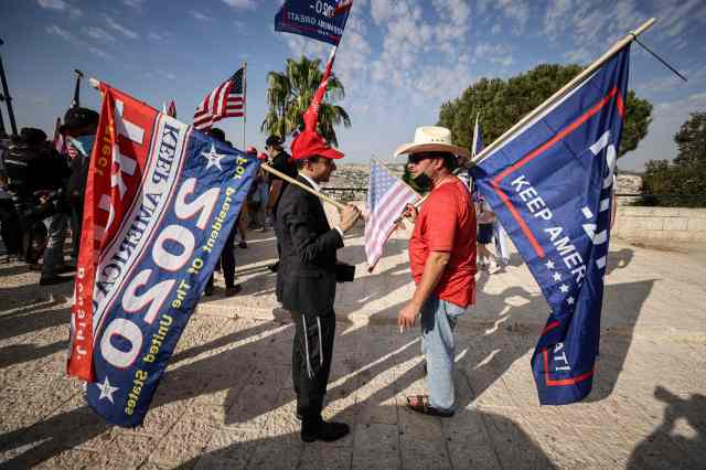 Israeli supporters of President Donald Trump's bid for a second presidential term stage a rally in Jerusalem on Oct. 27, 2020.