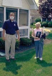 Carol Yost received the Licking Memorial Health Systems Donald Day Volunteer of the Year Award at her home.