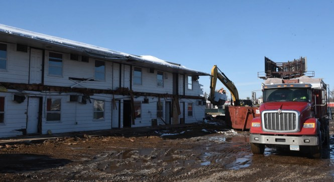 The Gateway Motel is torn down Friday, Nov. 13, 2020, in St. Cloud.