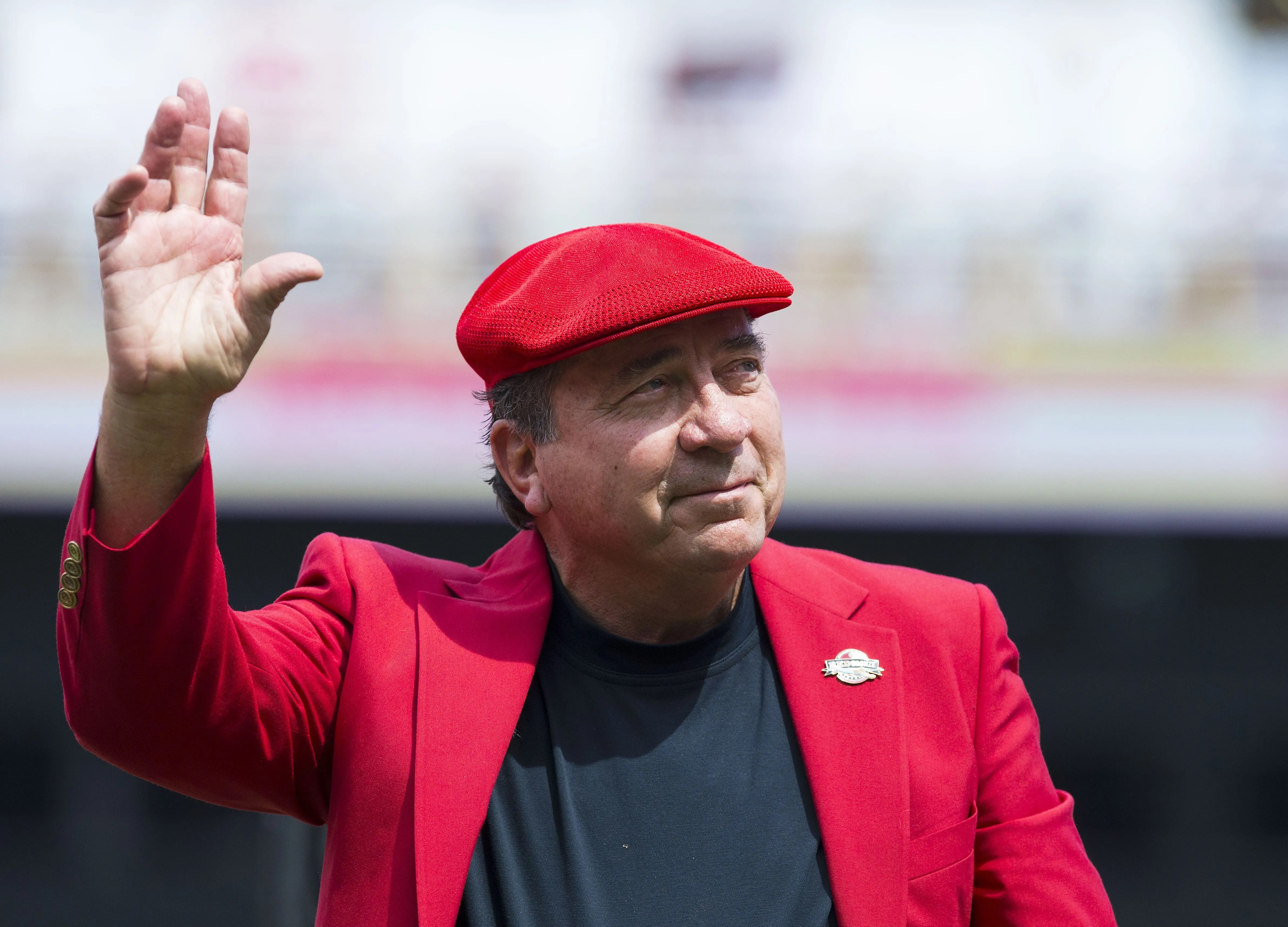 Johnny Bench during a ceremony at Cincinnati's Great American Ball Park in 2017.