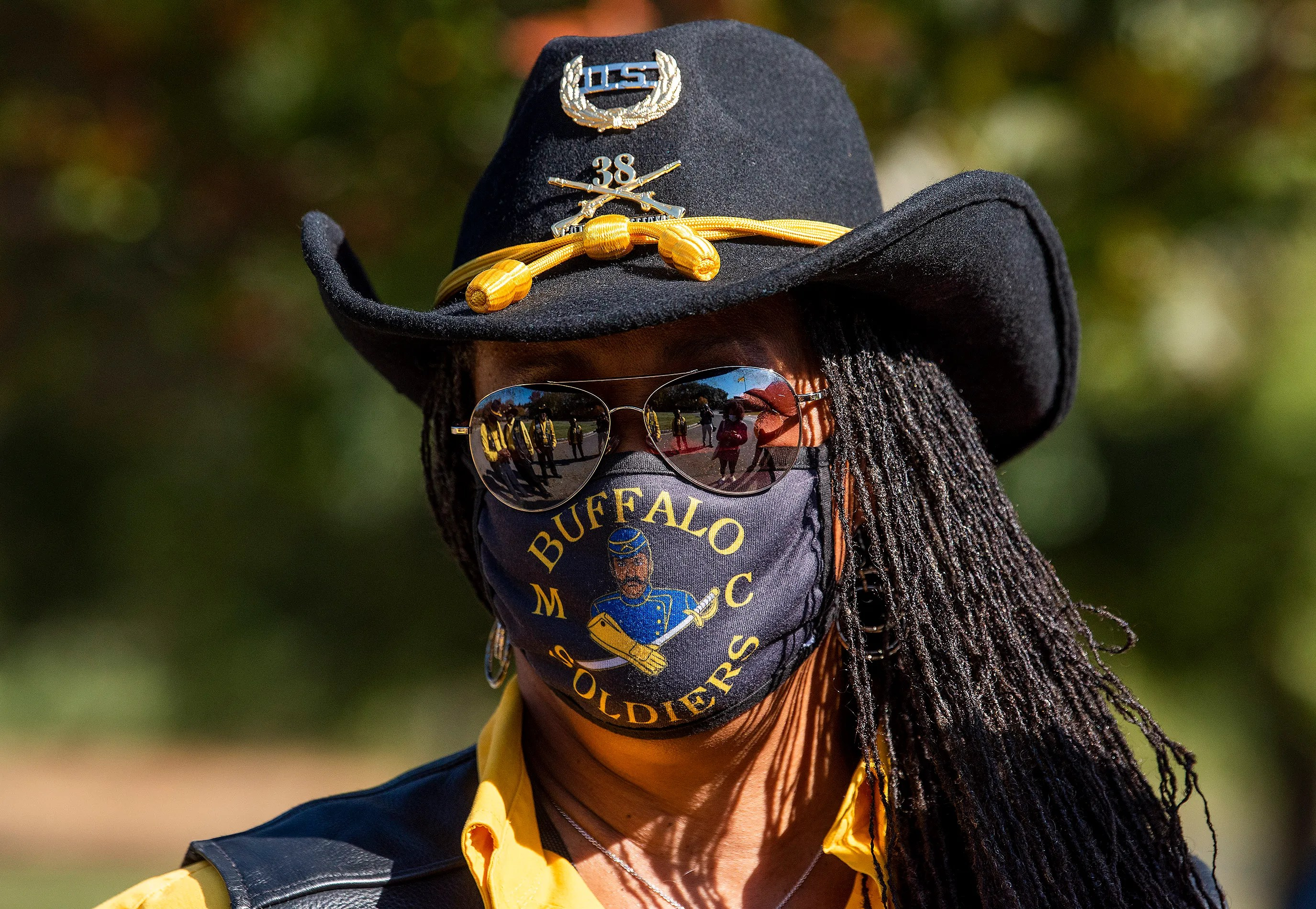 """Vanessa """"Butterfly"""" Robertson, president of the Montgomery Chapter of the Buffalo Soldiers, during an outing in Montgomery, Ala., on Saturday November 14, 2020."""