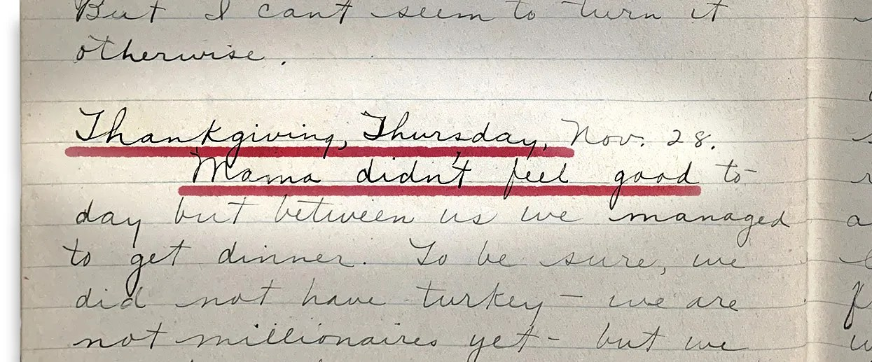 Seattle resident Violet Harris recounts Thanksgiving Day in her diary on Nov. 28, 1918.