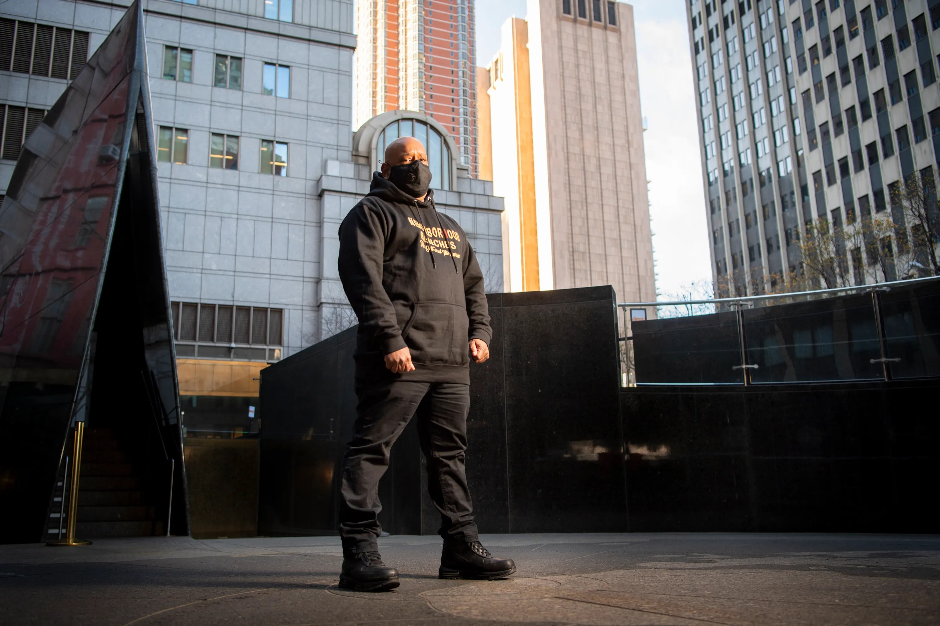 Shams DaBaron stands for a portrait at the African Burial National Monument in Lower Manhattan.