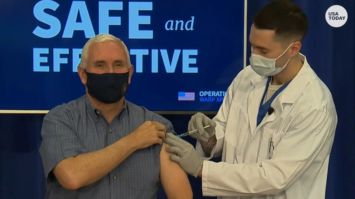 Vice President Mike Pence received the COVID-19 vaccine on December 18.