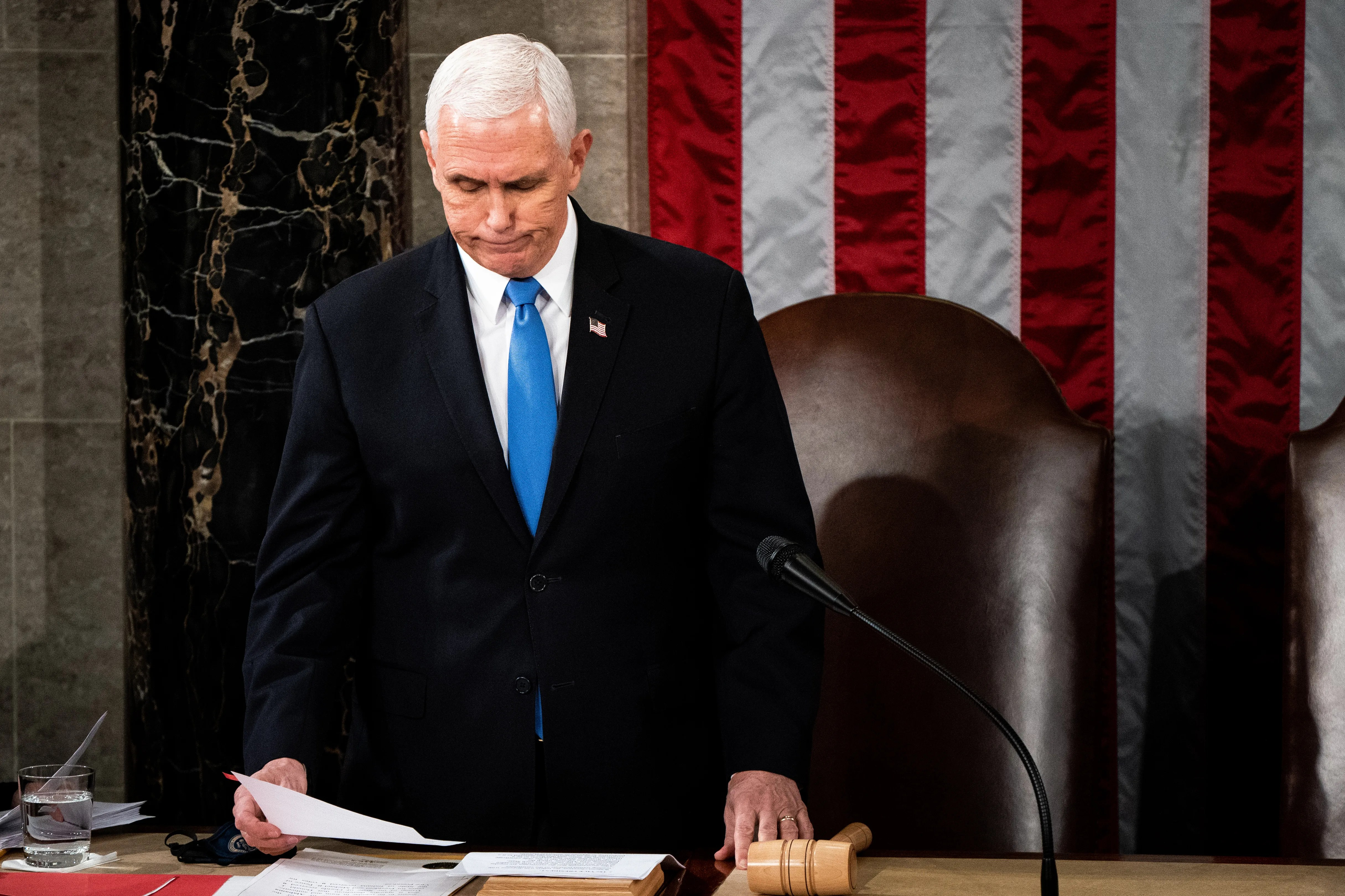 Vice President Mike Pence chairs a joint session of Congress to certify the results of the Electoral College 2020 on January 6, 2021.