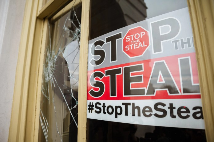 A Stop The Steal is posted inside of the Capitol Building after a pro-Trump mob broke into the U.S. Capitol on Jan. 6, 2021 in Washington, D.C.