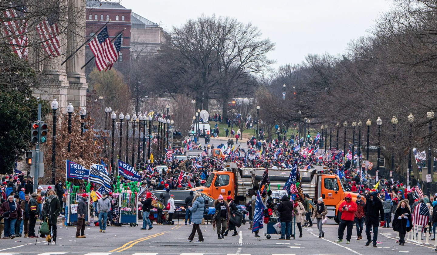 Protesters gather as the U.S. Congress meets to formally ratify Joe Biden as the winner of the 2020 Presidential election.