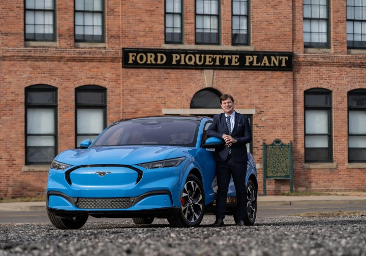 Ford Motor Co. CEO Jim Farley stands in January with a 2021 Mustang Mach-E 4X model outside of the Ford Piquette Avenue Plant in Detroit.