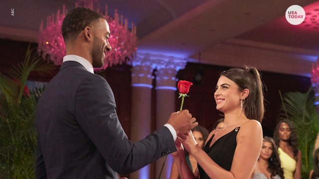 """Rachael is seen accepting a rose from Matt in a previous episode of """"The Bachelor."""""""