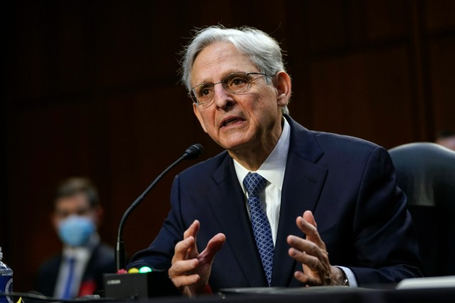 Judge Merrick Garland, nominee to be Attorney General, testifies at his confirmation hearing before the Senate Judicary Committee, Feb. 22, 2021 on Capitol Hill in Washington.
